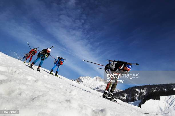 Vanessa Hinz of Germany competes in the first leg of the Mixed Relay competition of the IBU World Championships Biathlon 2017 at the Biathlon Stadium...