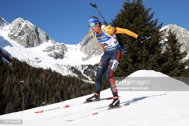 Vanessa Hinz of Germany competes the Women 15 km Individual Competition at the IBU World Championships Biathlon Antholz-Anterselva on February 18,...
