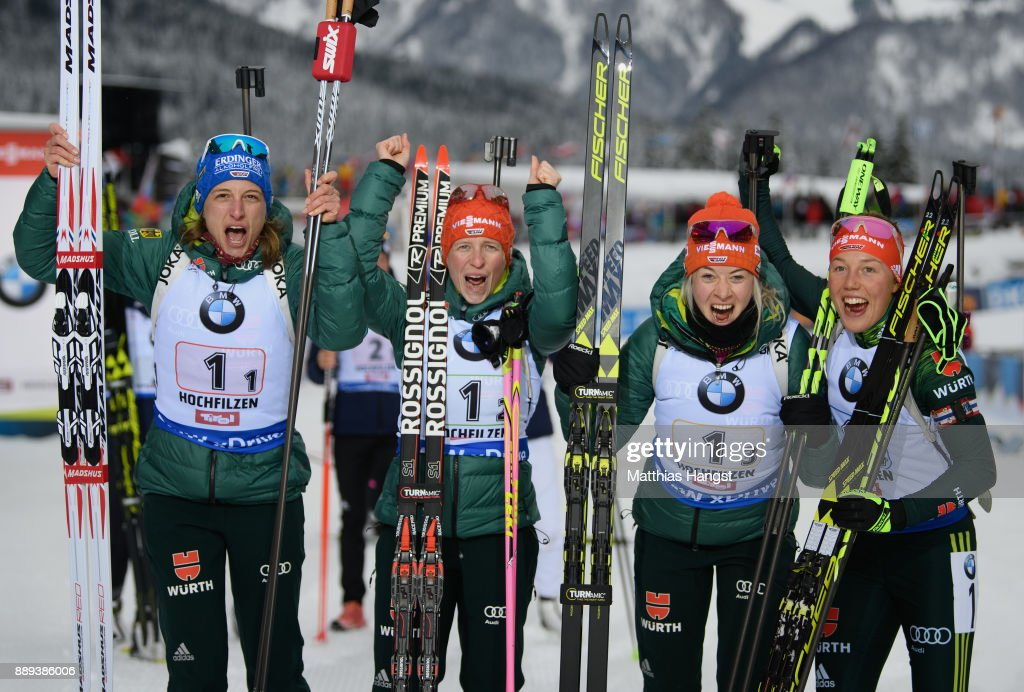 Vanessa Hinz of Germany, Franziska Hildebrand of Germany, Maren Hammerschmidt of Germany and Laura Dahlmeier of Germany celebrate winning the Women's 4x 6km relay competition of the BMW IBU World Cup Biathlon on December 10, 2017 in Hochfilzen, Austria.