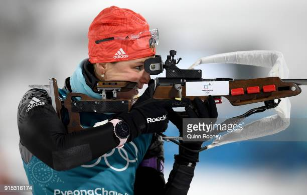 Vanessa Hinz of Germany in action during Biathlon Women's 75km Sprint Official Training ahead of the PyeongChang 2018 Winter Olympic Games at...