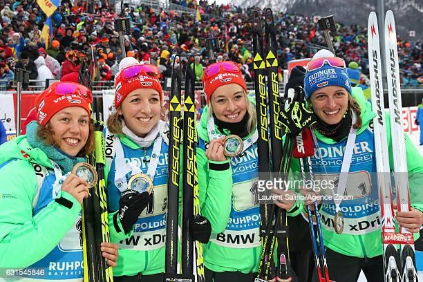 Vanessa Hinz of Germany Maren Hammerschmidt of Germany Franziska Preuss of Germany Laura Dahlmeier of Germany take 1st place during the IBU Biathlon...
