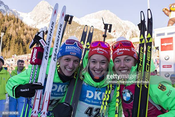 Vanessa Hinz of Germany Maren Hammerschmidt of Germany Laura Dahlmeier of Germany celebrate after the 15 km women's Individual on January 19 2017 in...
