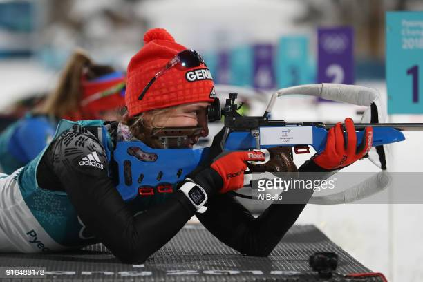 Vanessa Hinz of Germany practices ahead of the Women's Biathlon 75km Sprint on day one of the PyeongChang 2018 Winter Olympic Games at Alpensia...