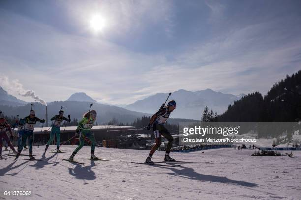 Vanessa Hinz of Germany, Susan Dunklee of the United States of America, Anais Chevalier of France, Hanna Oeberg of Sweden compete in the mixed relay...