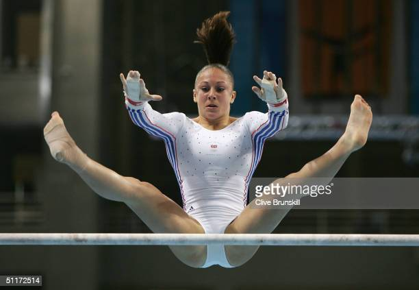 Vanessa Hobbs of Great Britain competes in the qualification round of the team event at the women's artistic gymnastics competition on August 15 2004...