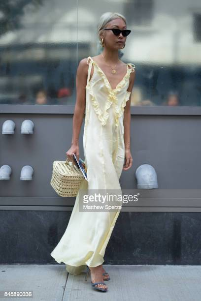 Vanessa Hong is seen attending 31 Phillip Lim during New York Fashion Week wearing Attico THPSHOP bag on September 11 2017 in New York City