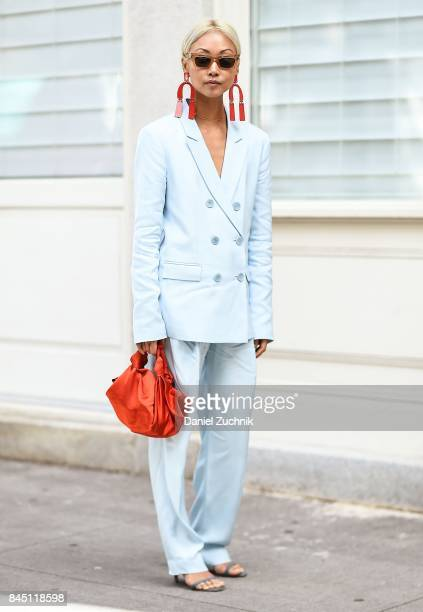 Vanessa Hong is seen wearing a Tibi suit outside the Tibi show during New York Fashion Week Women's S/S 2018 on September 9 2017 in New York City
