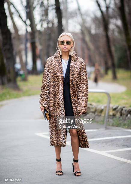 Vanessa Hong is seen wearing coat with animal print outside Roberto Cavalli on Day 4 Milan Fashion Week Autumn/Winter 2019/20 on February 23 2019 in...