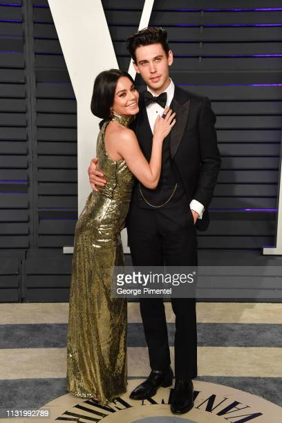 Vanessa Hudgens and Austin Butler attend the 2019 Vanity Fair Oscar Party hosted by Radhika Jones at Wallis Annenberg Center for the Performing Arts...