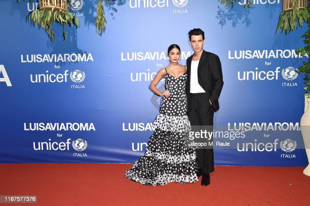 Vanessa Hudgens and Austin Butler attend the photocall at the Unicef Summer Gala Presented by Luisaviaroma at on August 09 2019 in Porto Cervo Italy