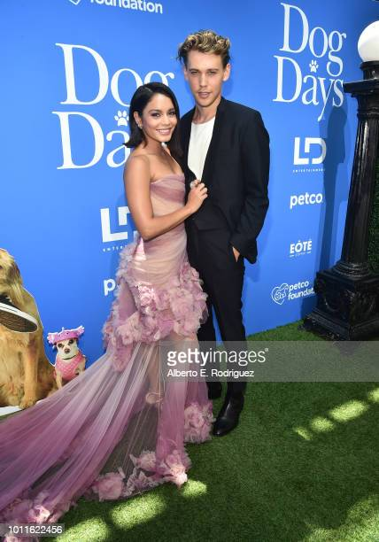 Vanessa Hudgens and Austin Butler attend the premiere of LD Entertainment's 'Dog Days' at Westfield Century City on August 5 2018 in Century City...
