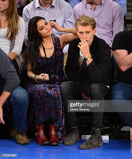 Vanessa Hudgens and Austin Butler attend the Washington Wizards vs New York Knicks game at Madison Square Garden on November 30 2012 in New York City