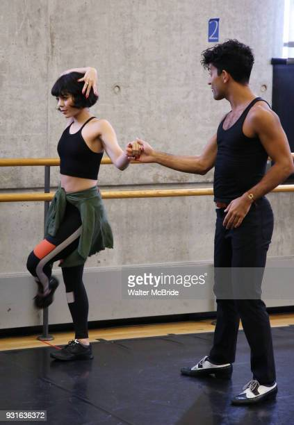 Vanessa Hudgens and Carlos Gonzalez during the Broadway Center Stage Rehearsal for 'In the Heights' on March 13 2018 at Baryshnikov Arts Center in...