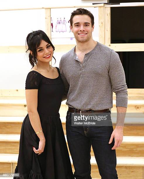 Vanessa Hudgens and Corey Cott attend the Meet Greet for The New Broadway Production of Lerner and Loewe's 'Gigi' at The New 42nd Street Studios on...