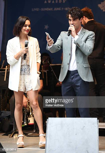 Vanessa Hudgens and Darren Criss perform at United presents 'Stars in the Alley' in Shubert Alley on May 27 2015 in New York City