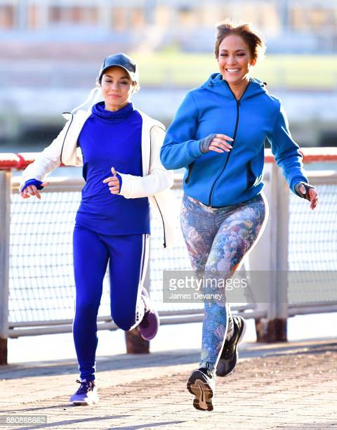 Vanessa Hudgens and Jennifer Lopez seen on location for 'Second Act' at South Street Seaport on November 27 2017 in New York City