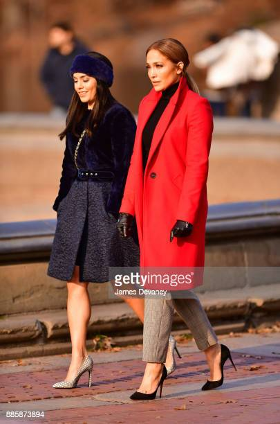 Vanessa Hudgens and Jennifer Lopez seen on location for 'Second Act' in Central Park on December 4 2017 in New York City