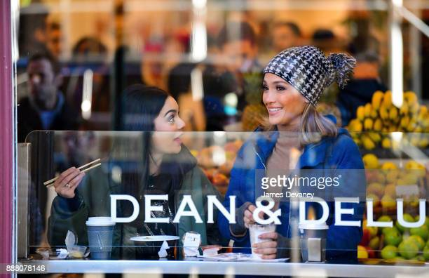 Vanessa Hudgens and Jennifer Lopez seen on location for 'Second Act' in SoHo on December 7 2017 in New York City