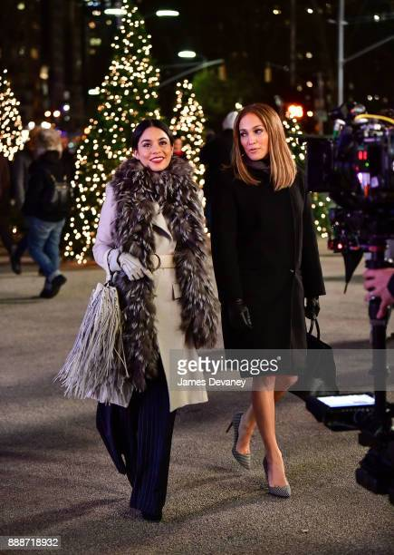 Vanessa Hudgens and Jennifer Lopez seen on location for 'Second Act' in the Flatiron District on December 8 2017 in New York City
