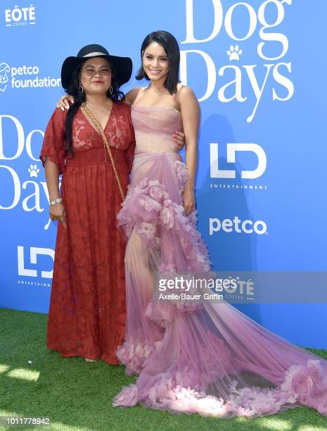 Vanessa Hudgens and mom Gina Guangco arrive at the premiere of LD Entertainment's 'Dog Days' at Westfield Century City on August 5 2018 in Century...