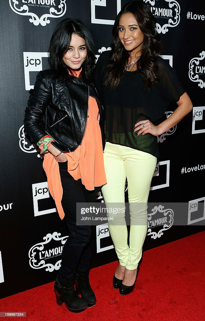 Vanessa Hudgens and Shay Mitchell attend JCPenney and Nanette Lepore Launch Event for L'Amour by Nanette Lepore at Good Units on January 24, 2013 in New York City.
