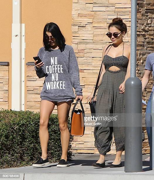 Vanessa Hudgens and Stella Hudgens are seen on January 25 2016 in Los Angeles California