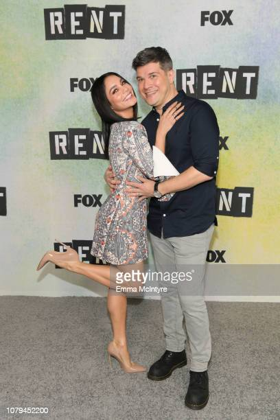 Vanessa Hudgens and Stephen Oremus attend the press junket for 'RENT' at Fox Studio Lot on January 8 2019 in Century City California