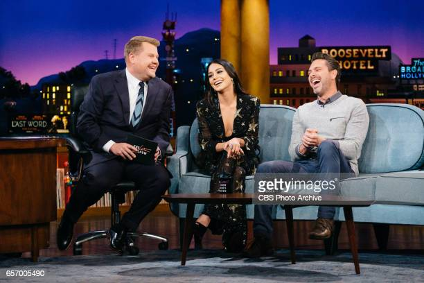 Vanessa Hudgens and Thomas Sadoski chat with James Corden during 'The Late Late Show with James Corden' Thursday March 16 2017 On The CBS Television...