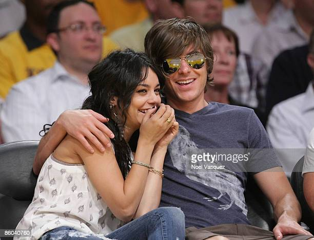 Vanessa Hudgens and Zac Efron attend the Los Angeles Lakers vs Utah Jazz at the Staples Center on April 19 2009 in Los Angeles California