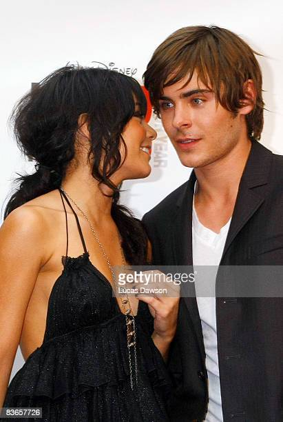 Vanessa Hudgens and Zac Efron attend the premiere of 'High School Musical 3 Senior Year' at the Village Jam Factory on November 12 2008 in Melbourne...