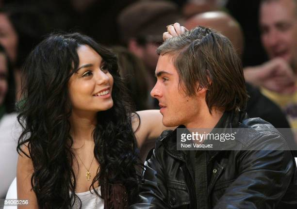 Vanessa Hudgens and Zack Efron attend the Los Angeles Lakers vs New York Knicks game at the Staples Center on December 16 2008 in Los Angeles...
