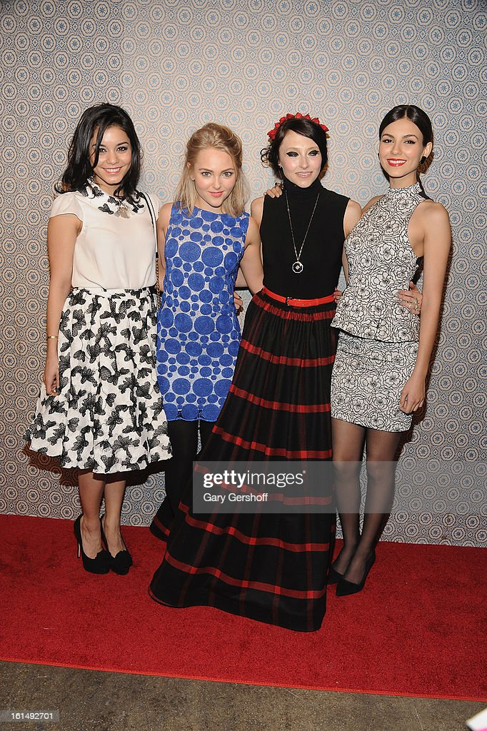 Vanessa Hudgens, AnnaSophia Robb, designer Stacey Bendet and Victoria Justice attendthe Alice + Olivia By Stacey Bendet presentation during Fall 2013 Mercedes-Benz Fashion Week on February 11, 2013 in New York City.