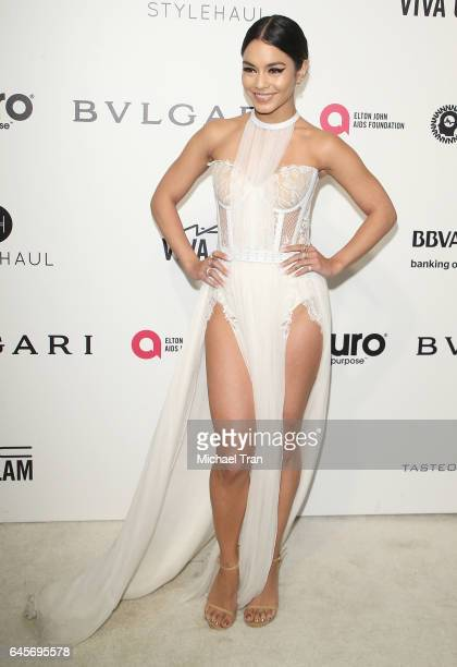 Vanessa Hudgens arrives at the 25th Annual Elton John AIDS Foundation's Oscar viewing party held at The City of West Hollywood Park on February 26...