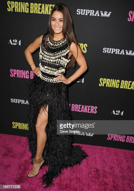 Vanessa Hudgens arrives at the Spring Breakers Los Angeles Premiere at ArcLight Hollywood on March 14 2013 in Hollywood California