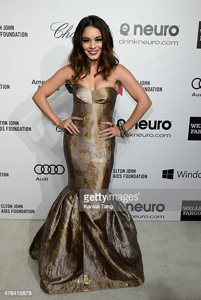Vanessa Hudgens arrives for the 22nd Annual Elton John AIDS Foundation's Oscar Viewing Party held at West Hollywood Park on March 2 2014 in West...