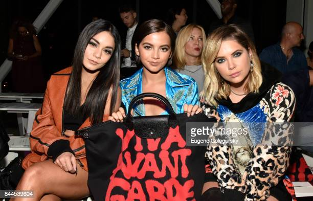 Vanessa Hudgens Ashley Benson and Isabela Moner attend the Jeremy Scott fashion show during New York Fashion Week The Shows on September 8 2017 in...
