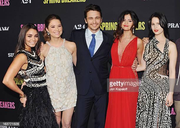 Vanessa Hudgens Ashley Benson James Franco Selena Gomez and Rachel Korine arrive at the Los Angeles Premiere Spring Breakers at ArcLight Hollywood on...