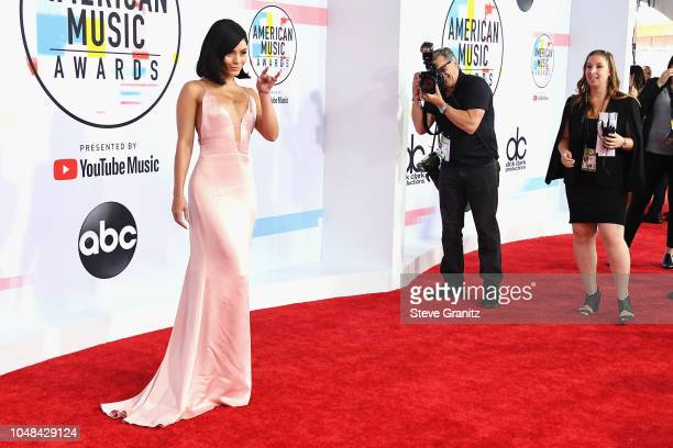 Vanessa Hudgens attends the 2018 American Music Awards at Microsoft Theater on October 9 2018 in Los Angeles California