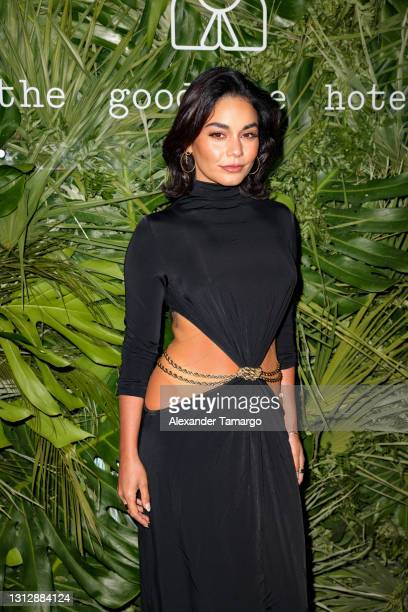 Vanessa Hudgens attends the Inter Miami CF Season Opening Party Hosted By David Grutman And Pharrell Williams at The Goodtime Hotel on April 16, 2021...