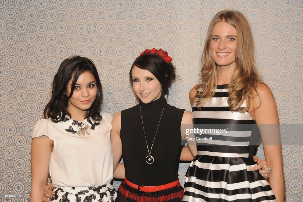 Vanessa Hudgens, designer Stacey Bendet and Julie Henderson attend the Alice + Olivia By Stacey Bendet presentation during Fall 2013 Mercedes-Benz Fashion Week on February 11, 2013 in New York City.