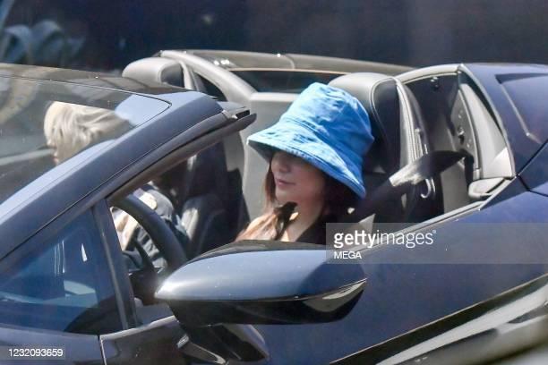 Vanessa Hudgens is seen in her Lamborghini on April 3, 2021 in Los Angeles, California.