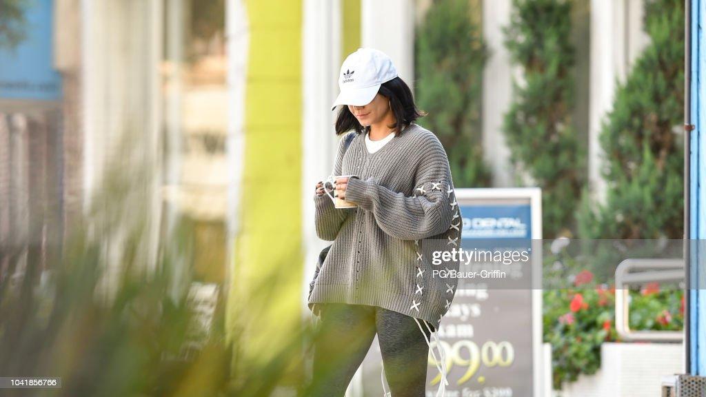 cf0fc794294 Vanessa Hudgens is seen leaving a pilates class wearing a baggy ...
