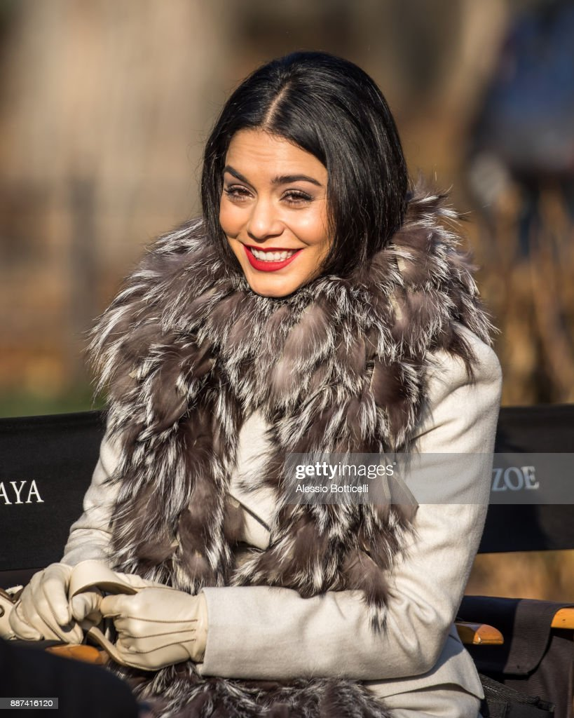 Vanessa Hudgens is seen on set of 'Second Act' on December 6, 2017 in New York, New York.