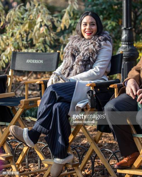 Vanessa Hudgens is seen on set of 'Second Act' on December 6 2017 in New York New York