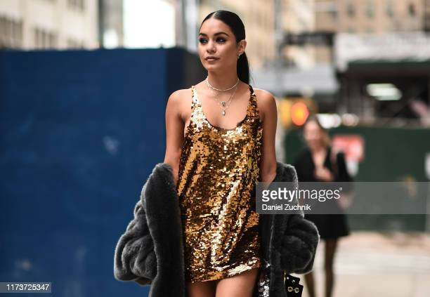 Vanessa Hudgens is seen wearing a Vera Wang dress outside the Vera Wang show during New York Fashion Week S/S20 on September 10 2019 in New York City