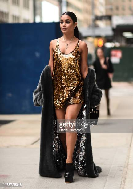 Vanessa Hudgens is seen wearing a Vera Wang dress outside the Vera Wang show during New York Fashion Week S/S20 on September 10, 2019 in New York...