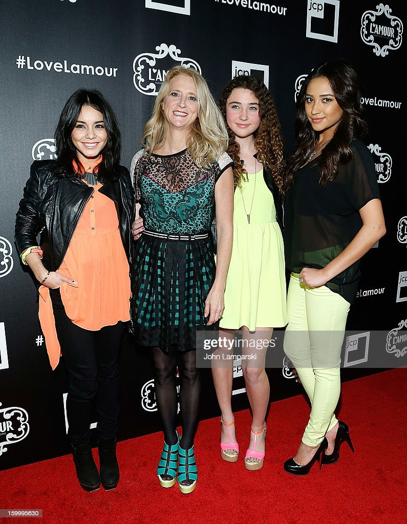 Vanessa Hudgens, Nanette Lepore, Violet Lepore and Shay Mitchell attend JCPenney and Nanette Lepore Launch Event for L'Amour by Nanette Lepore at Good Units on January 24, 2013 in New York City.