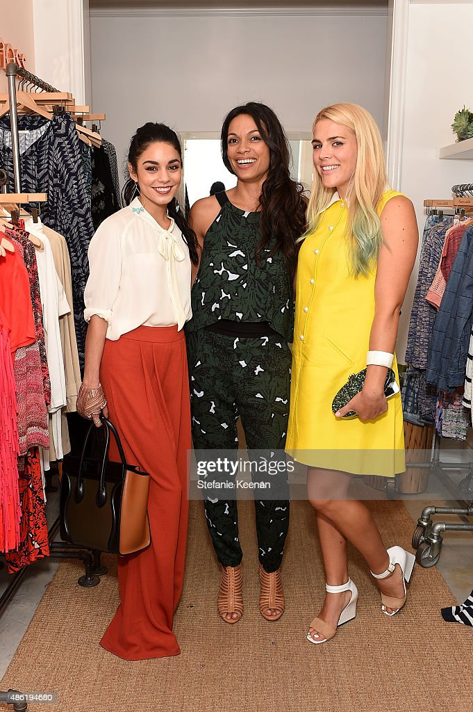 Vanessa Hudgens, Rosario Dawson and Busy Phillips attend The A List 15th Anniversary Party on September 1, 2015 in Beverly Hills, California.