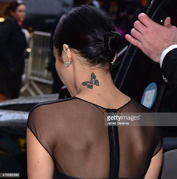 Vanessa Hudgens tattoo detail attends the 2015 CFDA Fashion Awards at Alice Tully Hall at Lincoln Center on June 1 2015 in New York City
