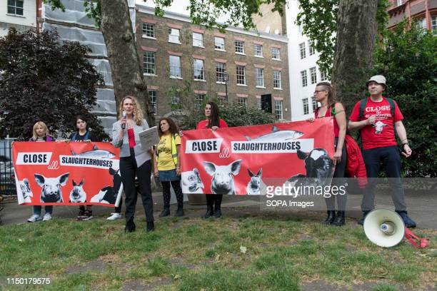Vanessa Hudson speaks during the March Animal rights activists marched through central London to demand the closing of the slaughterhouses and to...